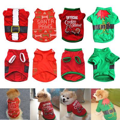 Santa Welpen Hund Kostüme (Cute Santa Weihnachten Hund Shirt Mantel Welpe Katze Kostüm Kleidung Xmas Bekle)