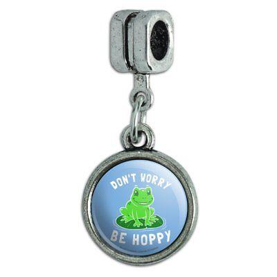 - Don't Worry Be Hoppy Frog Funny Humor Italian European Style Bracelet Charm Bead