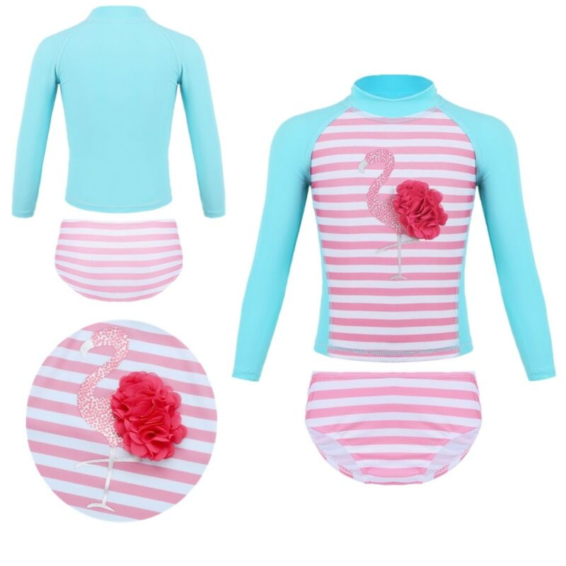 Baby Toddler Girl Swimming Suit with UV40 Sun Protection Long Sleeve Rash Guard One Piece Swimsuit for Girls