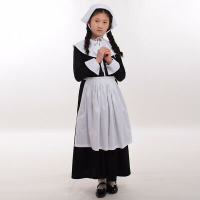 Colonial Civil War Puritan Girl Dress Outfit Cosplay Costume Set Black White - Colonial Outfits