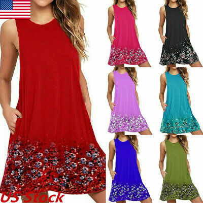 Womens Summer Plus Size Lady Boho Sleeveless Party Tops Loose Flower Beach Dress