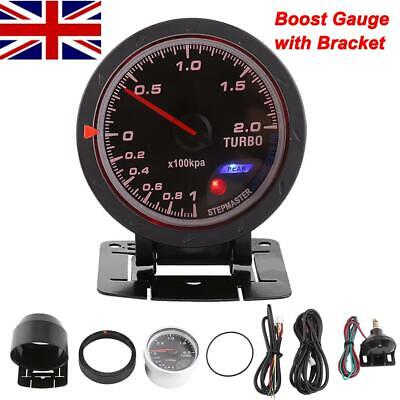 Universal 60mm Bar White Led Light Pressure Turbo Boost Gauge Kits Meter DC 12V