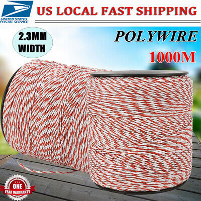 Electric Horse Fence Poly Rope White Red Stainless Steel Wire 3280ft