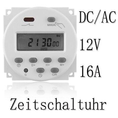Zeitschaltuhr DC/AC 12V 16A Digital LCD Timer Programmierbar Schalter Zeit