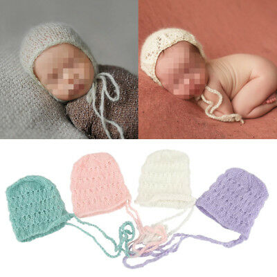 Baby Newborn Soft Mohair knitting Bonnet Hat Photo Photography Prop Cap Outfits