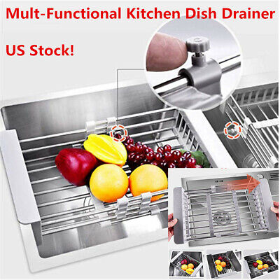 Telescopic Kitchen Dish Drying Rack Drain Basket Stainless Sink Organizer Holder