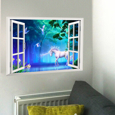 enster Fantasy Wandsticker Kinderzimmer Dekor Aufkleber (Einhorn Dekor)