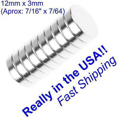 Extra Strong Magnets - 10 pc Neodymium Disc Magnets  EXTRA STRONG! 12mm x 3mm !!!! Free Shipping !!!!!