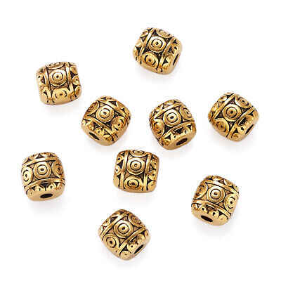 50 Tibetan Alloy Barrel Metal Beads Carved Antique Gold Spacers Nickel Free 6mm Antique Gold Metal Bead