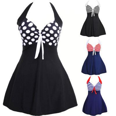 Us Womens Tankini One-piece Swimwear Bandage Striped Swimsuit Bathing Dress Plus