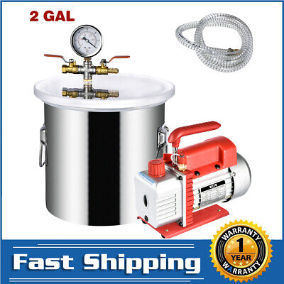 2 Gallon Vacuum Pump Chamber Degassing Silicone Kit And 3 Cfm 1 Stage 1720 Rpm