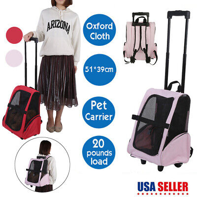 Portable Pet Luggage Bag Dog Travel Backpack Carrier W/ Rolling Trolley Wheels ()