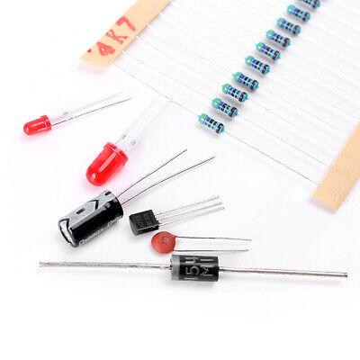 Pack Electronic Resistors Capacitors Transistors Diode Led Assorted Kit