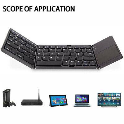 1X Bluetooth Keyboard Touchpad Foldable Triple Wireless Black For Ipad iPhone PC