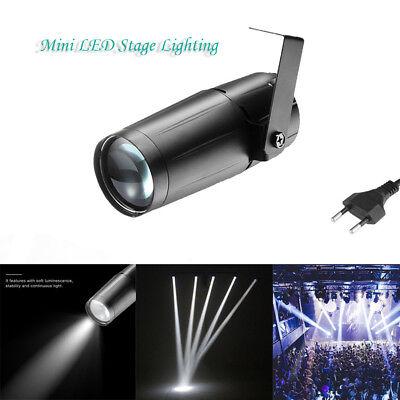 10W Mini LED Stage Light Beam Spotlight DJ Disco Bar Xmas Spin Pinspot Lighting