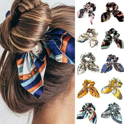Girl Solid Floral Bow Scrunchie Hair Band Elastic Hair Ties Rope Scarf Acc Best