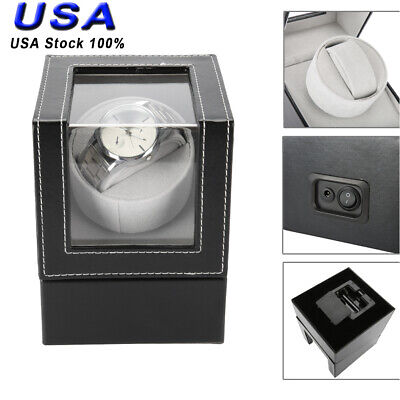 Deluxe Wood Watch Winder Storage Display Case Organizer Box Automatic Rotation Deluxe Wood Watch Winder