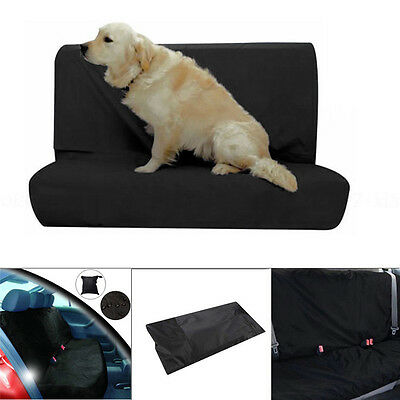 (Pet Water Resistant Rear Car Seat Protector Cover For Base/Back Of Seat Black US)