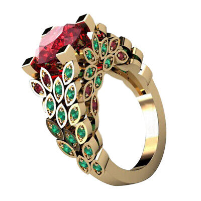 New Faux Ruby Emerald Finger Ring Engagement Anniversary Party Jewelry Gift Litt