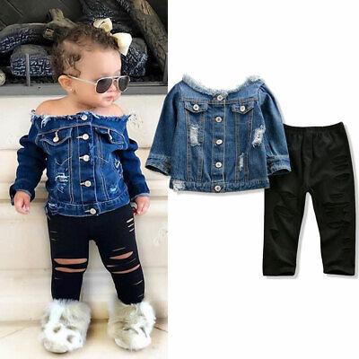 Girl Denim Jacket (US Toddler Kids Baby Girls Denim Jacket Off Shoulder Tops + Pants Autumn)