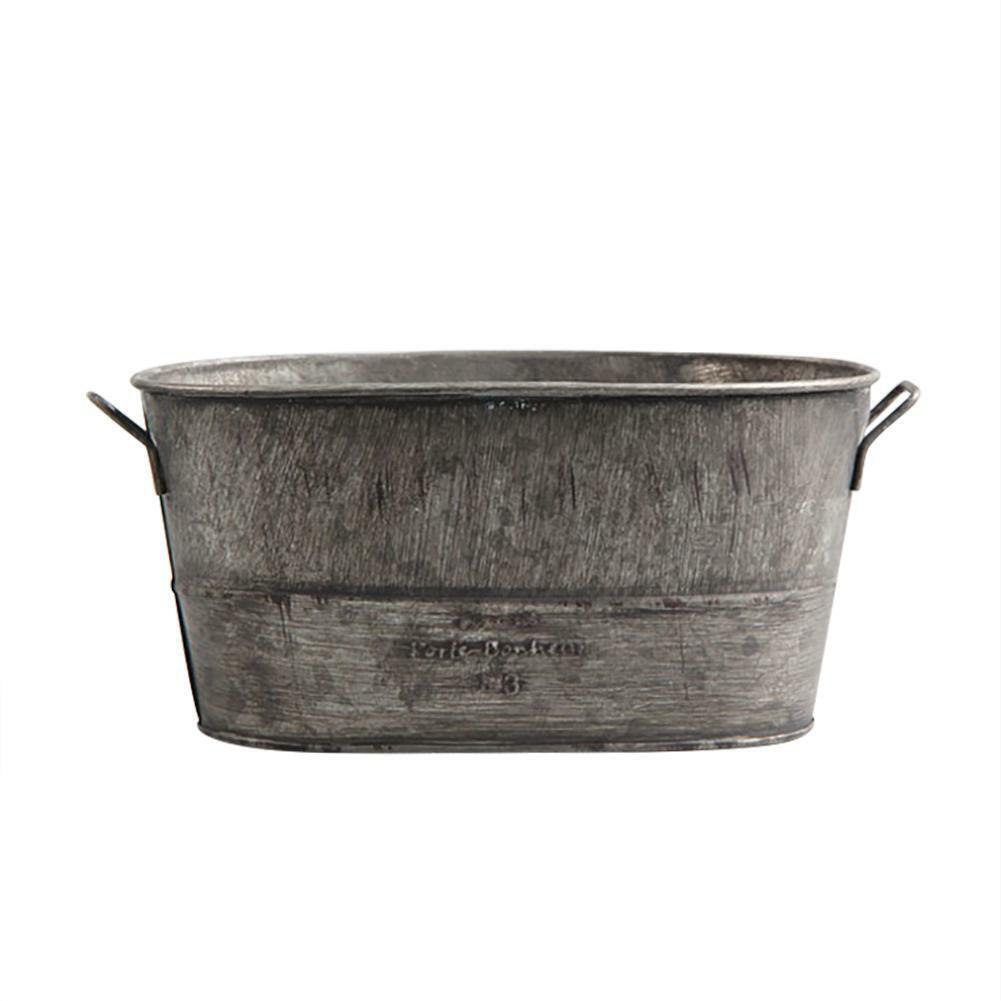 Galvanized Zinc Tin Metal Bucket Herb Flower Pots Planter Gr