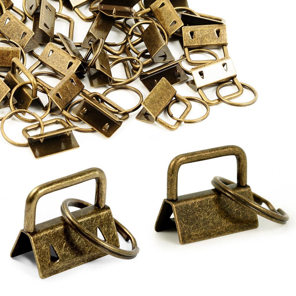 Key Ring Bulk Fob Hardware 25 Pieces Antique Brass Webbing S
