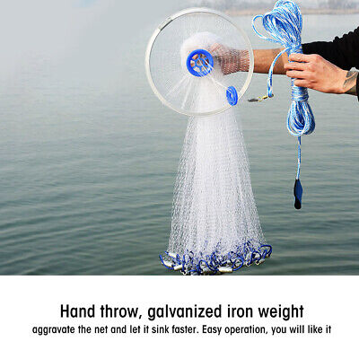 Hand Steel Cast Fishing Net Spin Network Bait Large Mesh Equip+10//14//18//22FT TOP