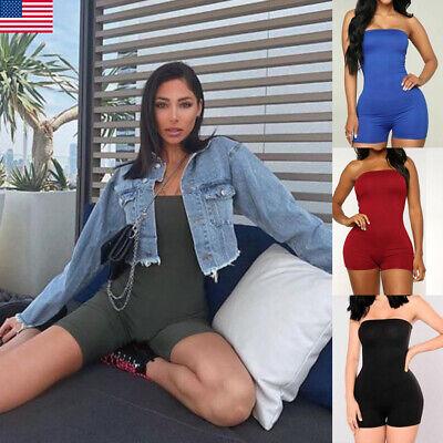 women strapless jumpsuit tube bodysuit bodycon short