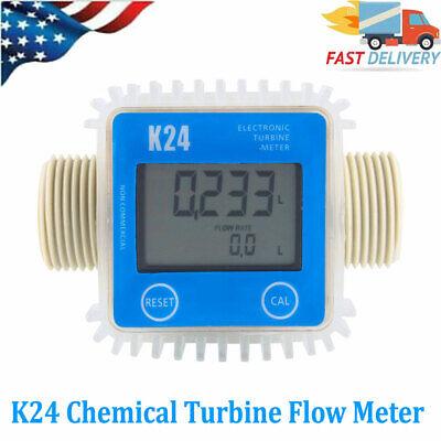K24 Turbine Digital Diesel Fuel Flow Meter For Chemicals Water Color Blue Us