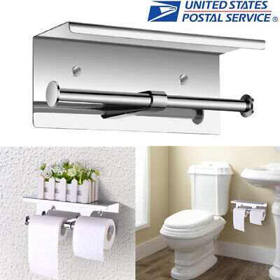 Wall Mounted Stainless Steel Double Roll Toilet Paper Holder Rack W/ Phone Shelf