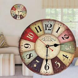 Vintage Wooden Wall Clock Shabby Chic Rustic Retro Kitchen Home Antique Decor