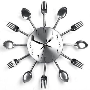 1PC Modern Design Sliver Cutlery Kitchen Utensil Wall Clock Spoon Fork Clock New