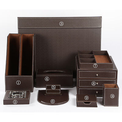 Wholesale 10 Pcsset Office Leather Wooden Desk Files Organizer Storage Box Sets