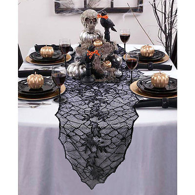 Halloween Party Dinner Tablecloth Table Cover Black Web Fireplace Mantle Decor