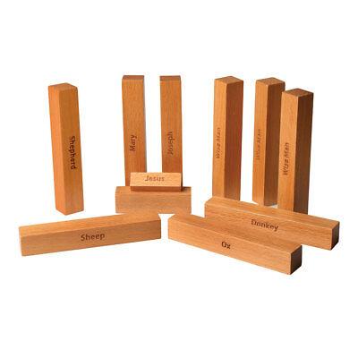 Bauhaus Nativity Set - 9 Piece Beachwood Set with Wood Storage Box - Minimalist