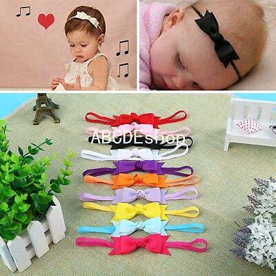 10 PCS Newborn Baby Girl Infant Toddler Headband Bow Ribbon HairBand Accessory