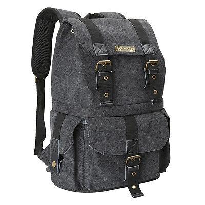 Evecase Convertible School/DSLR Camera Lens Canvas Backpack Rucksack +Rain Cover