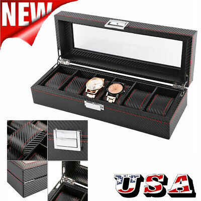 5/6/10/12 Slot Watch Box Carbon Fiber Case Jewelry Display Storage Collector