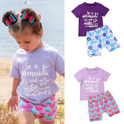 Holiday Outfits For Kids (US For Kids Baby Girl Summer Short Sleeve T-shirt Tops+Short Pants 2Pcs)