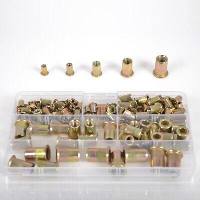 120pcs Rivet Nut Tool Kit Mixed Zinc Carbon Steel Threaded Rivnut Nutsert Insert