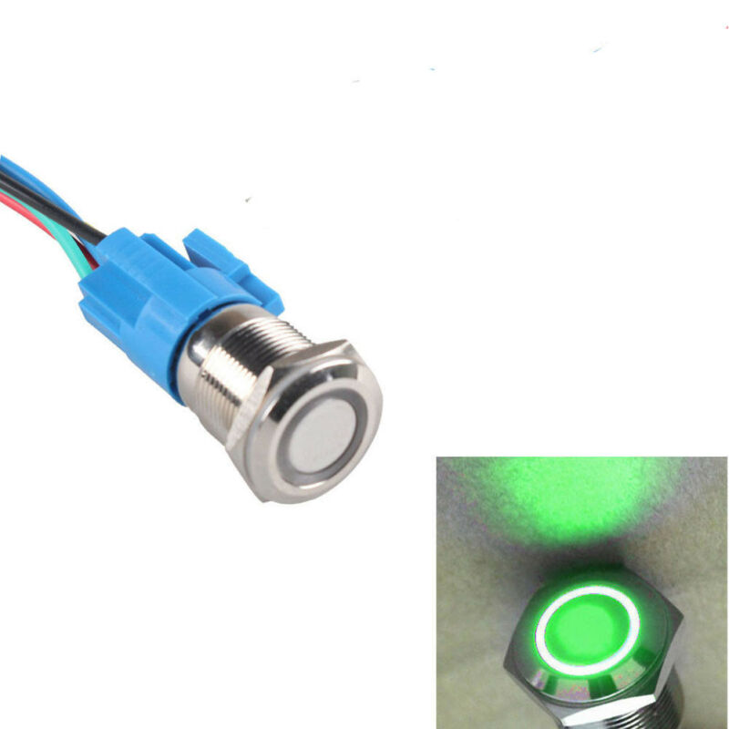 16mm 12V Car Green LED Light Angel Eye Metal Push Button Switch + Socket
