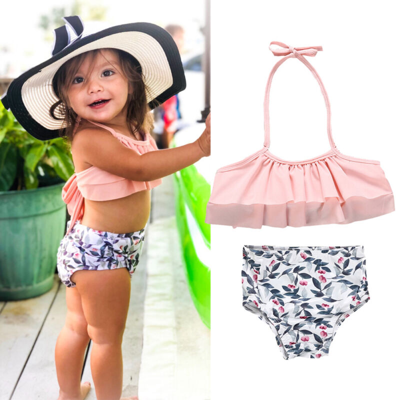 2Pcs Toddler Baby Girl Floral Swimwear Bathing Suit Bikini Outfits Swimsuit Set