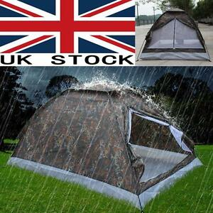 Pop Up Camping Tent 2 Person Single Layer Outdoor Waterproof Camouflage W1C6