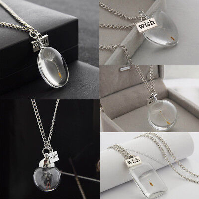 Make A Wish Necklace - Make A Wish Pendant Chain Necklace Crystal Glass Real Dandelion Seeds Gift Bag A