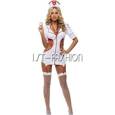Sexy Krankenschwester Kostüm Ärztin Schwester Cosplay Nachtwäsche Kleid Babydoll