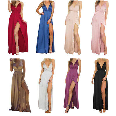 Sexy Women Summer Backless Satin Long Dress Evening Party Beach Maxi Pajamas Hot
