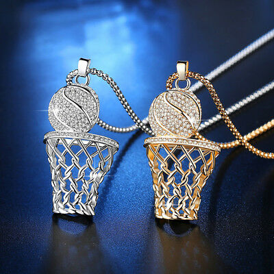 Basketball Necklace Hoop Ball Charms Rhinestone Golden Silver Plated Party Club (Basketball Necklaces)