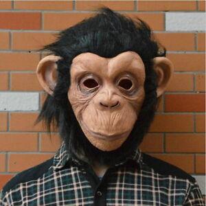 Monkey Mask Funny Adult Animal Costume Head Halloween Fancy Dress E