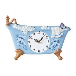 Blue Butterfly Bathtub Shaped Wall Clock