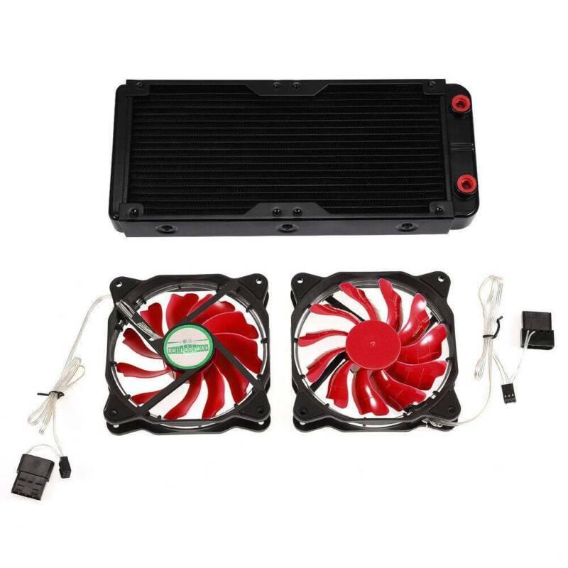 PC Liquid Kit 240mm Radiator CPU Block 2 Fan Pump US